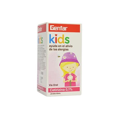 CETIRIZINA GENFAR KIDS ALERGIAS 0.1% FRASCO X 60 ML ( ENVIOS A TODO COLOMBIA)
