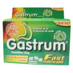 GASTRUM FAST MASTICABLE ALIVIO DE GASTRITIS Y ACIDEZ CAJA 48 TABLETAS